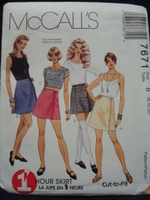 Uncut Wrap Skirts Waist 24 - 26.5 McCalls 7671. $3.00, via Etsy.