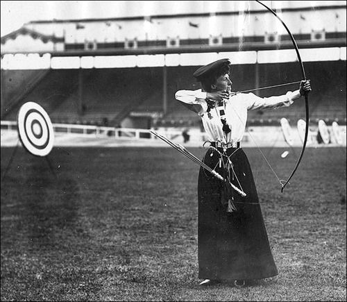 Queenie Newall, 1908 gold medalist in archery.  Fifty three years old at the time, Queenie is the oldest woman to ever win a gold medal.