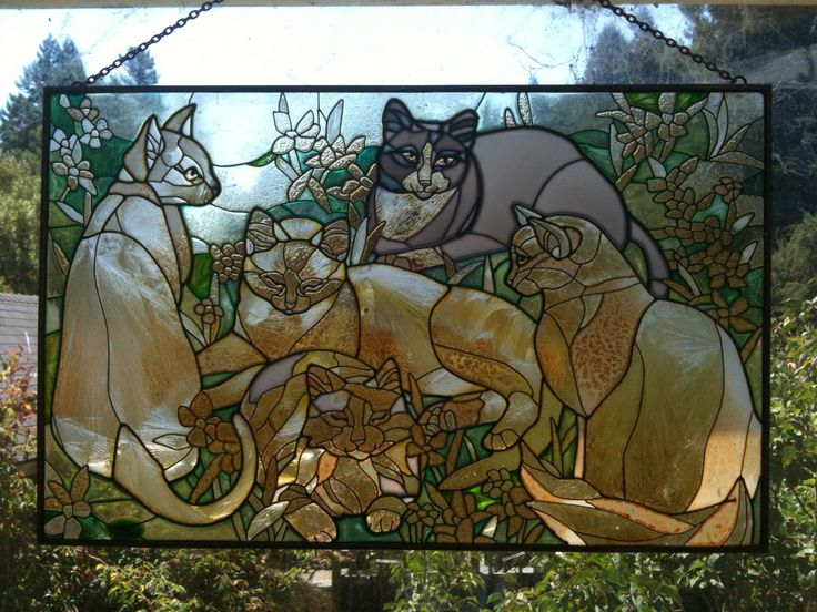 Stain glass cats