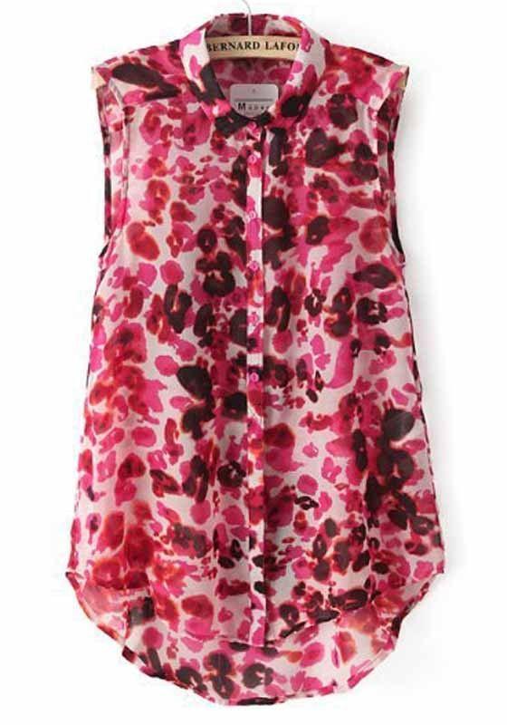 Red Leopard Print Sleeveless Chiffon Blouse