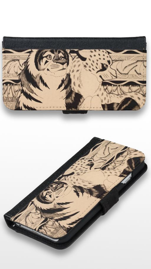 """Royals"" Black and white illustrated cheetah and tiger couple Wallet Phone Case For iPhone 6/6s"