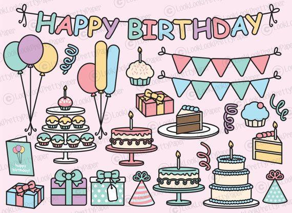 Premium Vector Clipart  Kawaii Cumpleaños  cumpleaños lindo