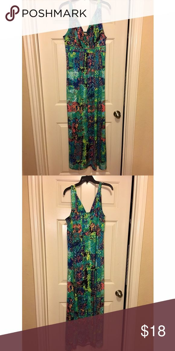 """Bright print tank maxi dress ***BUNDLE BUNDLE BUNDLE*** AND RECEIVE A DISCOUNT!!   V neck splatter print maxi  Bright colors Sleeveless  Summer dress  58""""   No rips, stains, snags,  in great shape!!   ***MAKE AN OFFER*** Dresses Maxi"""