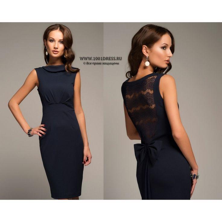 Платье синее с кружевной спиной и бантом DM00207BL