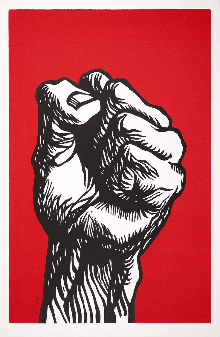 Woodcut print - fist