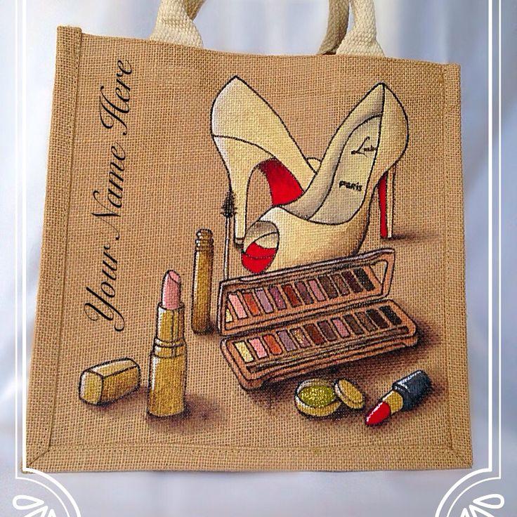 Emily-em Original Bag Designs.... BBlogger Cosmetic junkie Personalised jute bag by Emily-em Original Bag Designs!