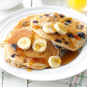 Banana Blueberry Pancakes Recipe from Taste of Home -- shared by Kelly Reinicke of Wisconsin Rapids, Wisconsin