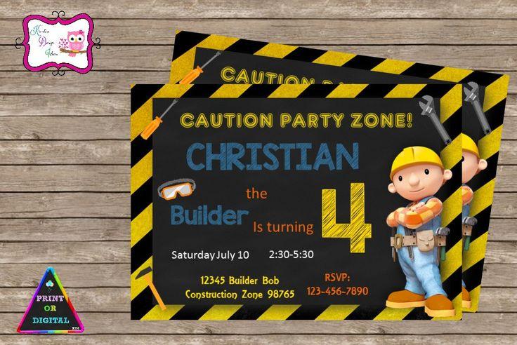 Bob The Builder Birthday Party Invitation Digital Printable Personalized Bob The…