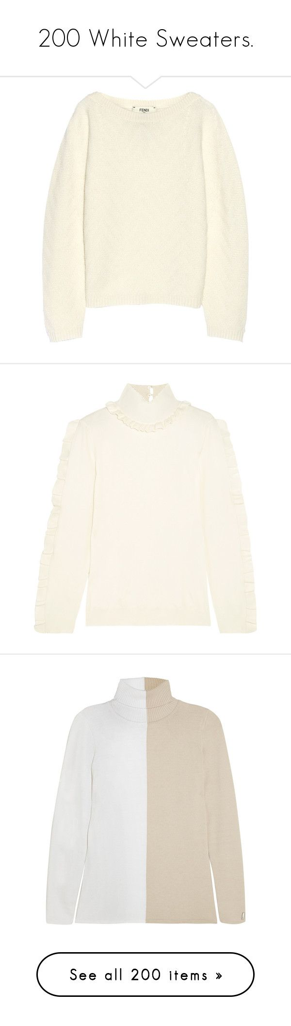 """""""200 White Sweaters."""" by that-drumming-noise ❤ liked on Polyvore featuring tops, sweaters, fendi, cashmere, white, chevron tops, cashmere sweater, loose sweaters, loose tops and loose fit tops"""
