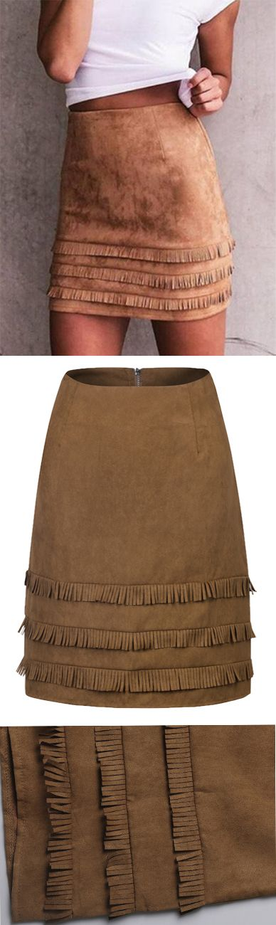 Winter Skirts-------Brown Faux Suede High Waist Tassel Trim Pencil Mini Skirt by Stayingsummer.com
