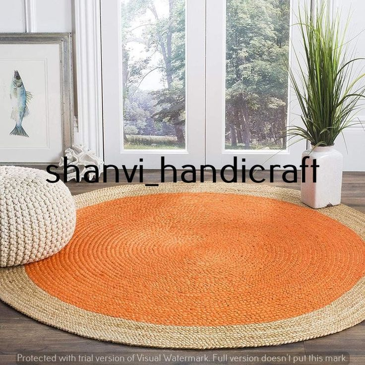 Hand Braided Bohemian Jute Area Rug Round Rag Rug Home
