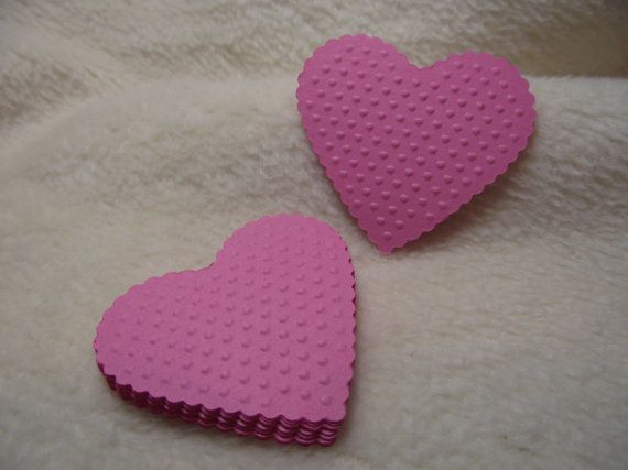 Embossed Paper Hearts...12 Piece Set of Very Pretty Tickle Me