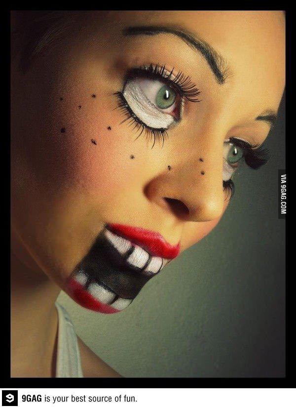 Creepy doll makeup for halloween
