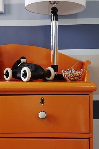 sarah richardson sarah 101 blue orange nursery stripe walls paisley ceiling orange dresser