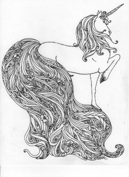 Unicorn Grayscale Coloring Pages For Adults