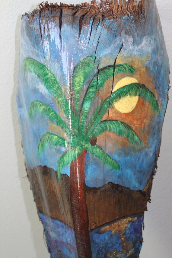hand painted palm frond,water color based paint- finished with a hard resin finish. Ready to hang.