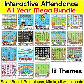 Have fun taking attendance with these engaging interactive attendance sheets for whiteboards and computers! This mega bundle contains 18 of my attendance themes. With the variety in this bundle you can change your attendance sheet every month and your students will always be excited to see which theme is next.Students touch their character when they arrive in class and their character will animate and move off screen.