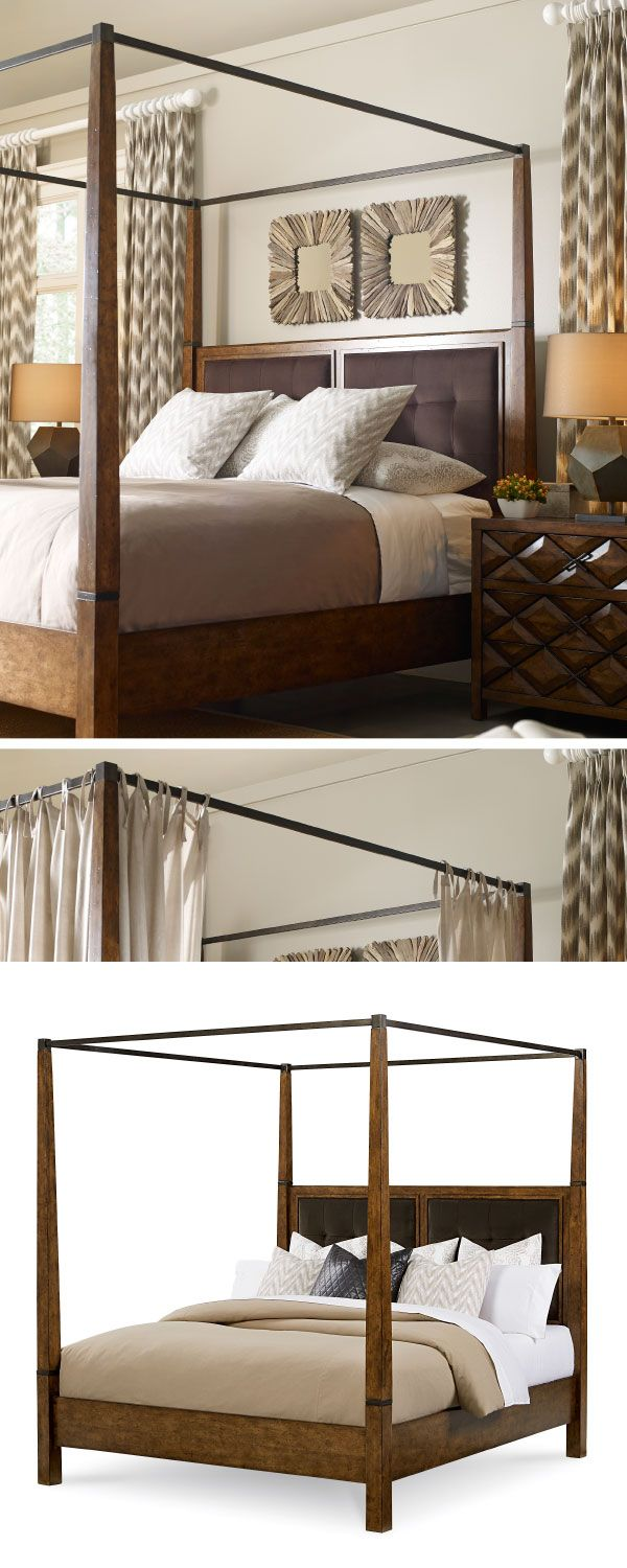 Echo Park Canopy Bed. Craftsman, Bungalow, Americana, and Cottage references give Echo Park a crossover appeal that will find a place in any home. Cases emphasize style and storage, with attractively chamfered edges, beveled panels, and custom designed hardware. #bed #canopybed #bedroom #craftsman #bungalow #americana #contemporary