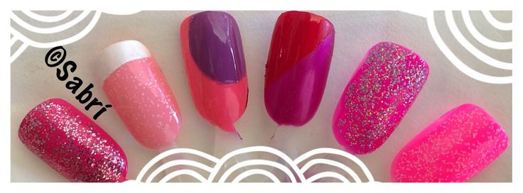 These #naildesigns are so #sugarsweet, sure to brighten #winterblues! #geometric #popart #glitter #barbie #pink #nailart. #Nails #Uñas #Unghie #Ongles  #Unhas #Nailpolish #Esmalte #Smalto #Émail. #Beauty #Belleza #Bellezza #Beauté #Beleza #Cosmetics #Cosméticos #Cosmetici #fabat40.