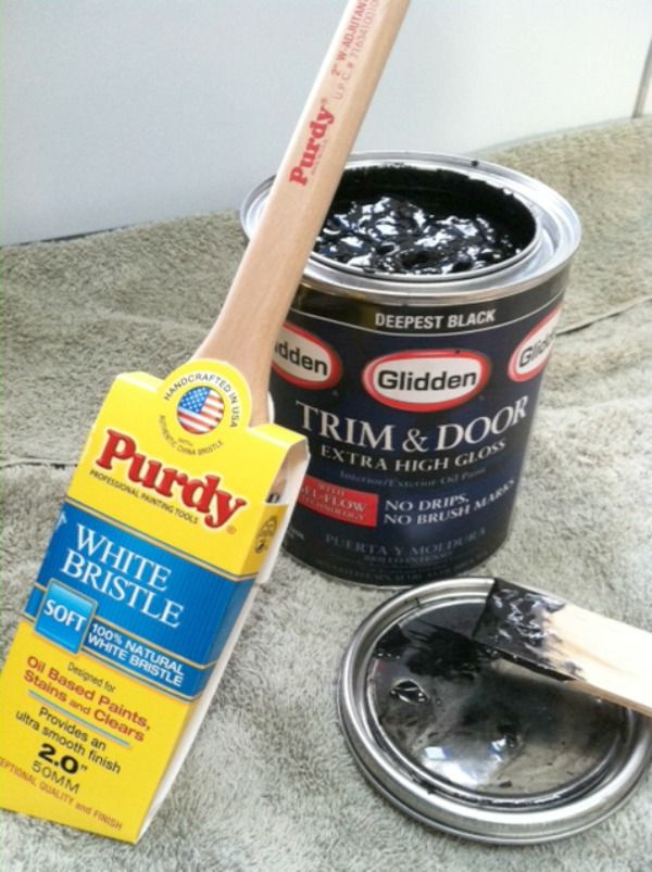 """look for special trim and door paint for a glossy finish: """"Still, I'm absolutely loving the results. Very shiny almost like they're wet and DRAMATIC."""""""