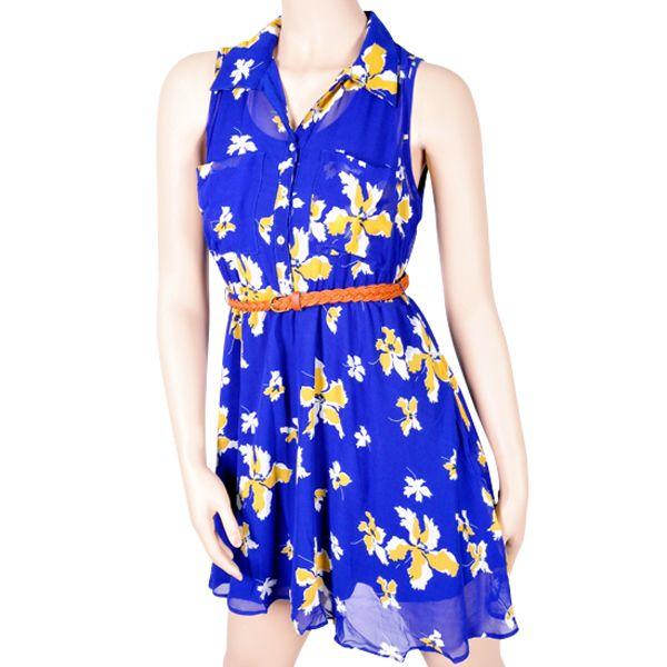 Blue Floral Button Down Dress