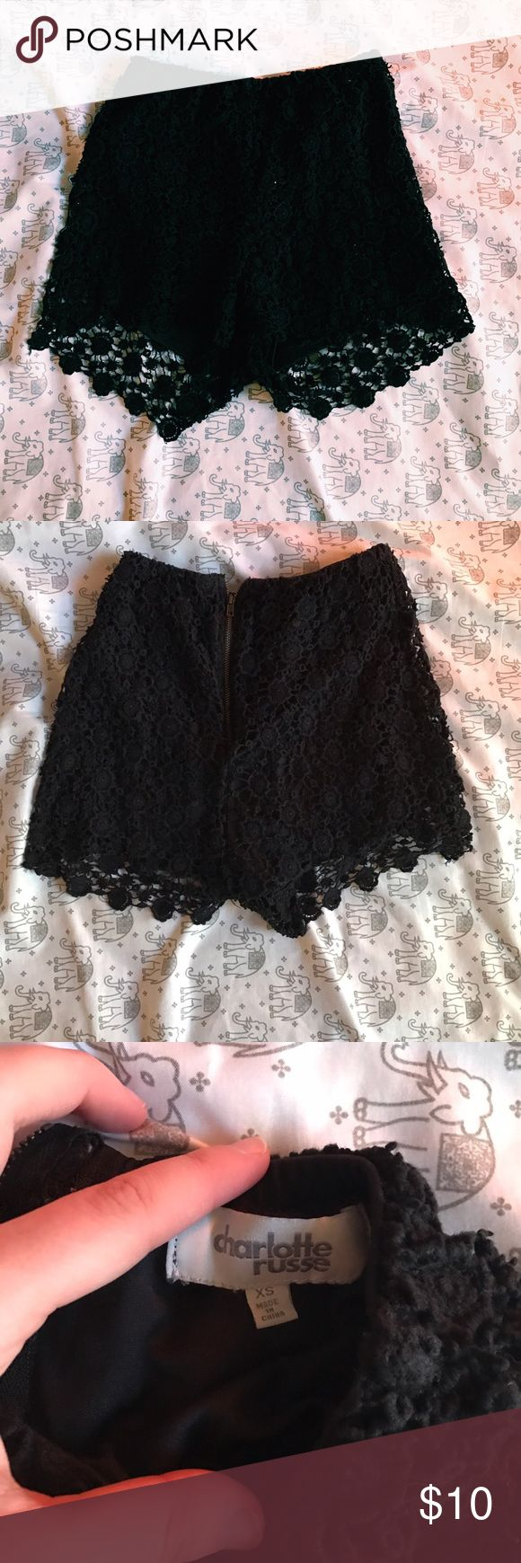 Black Lace Crochet Shorts • I'll model anything if you just ask!  • Prices negotiable  • No trades!  • Happy poshing! Charlotte Russe Shorts