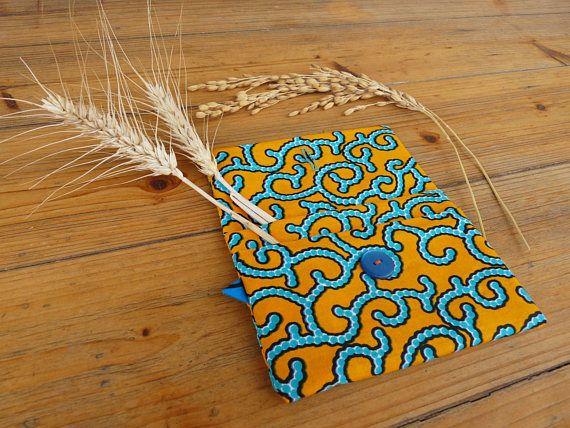 Astuccio arancione rettangolare in tessuto africano wax  Pochette en tissu africain wax orange  Clutch in african wax