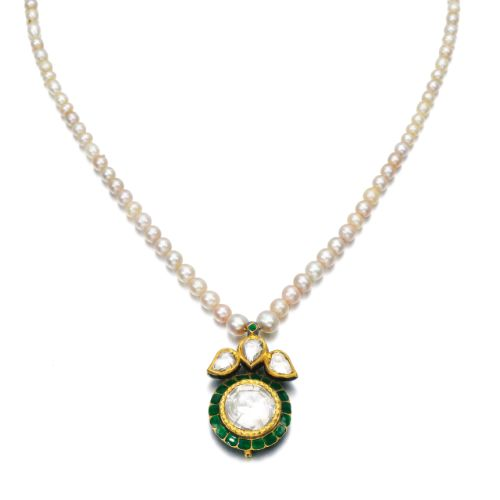 Natural pearl, enamel and diamond necklace | Lot | Sotheby's