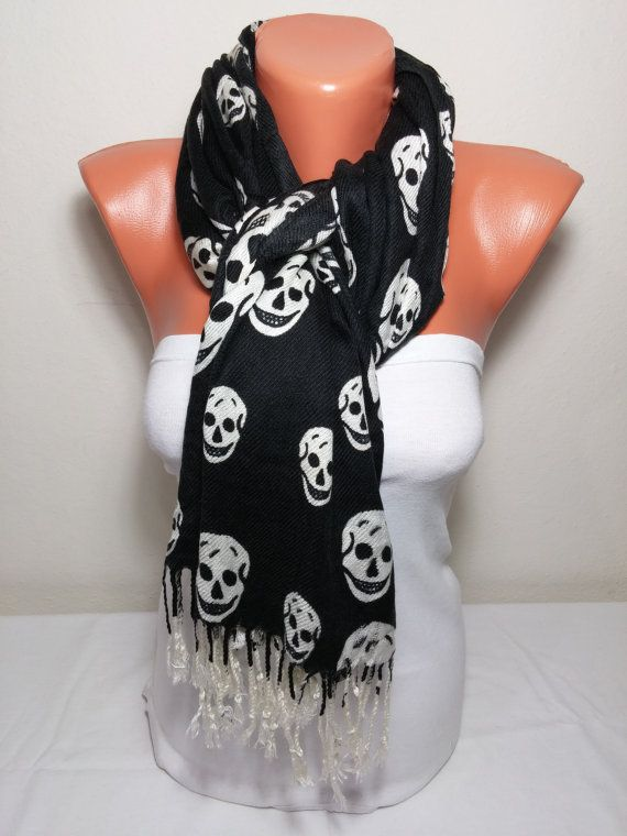 20% REAL DISCOUNT Black Pashmina Scarf Black by NewFashionScarf  #scarfs #scarves #skull #walkingdead  #scarfseason #scarf #scarface #fashion #skullscarf