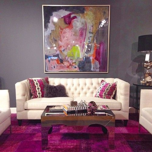 pink purple living room grey walls magenta carpet highfashionhome color 13352