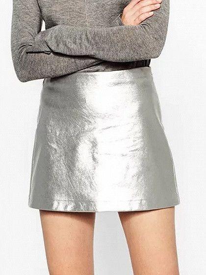 Silver High Waist Metallic Pencil Mini Skirt