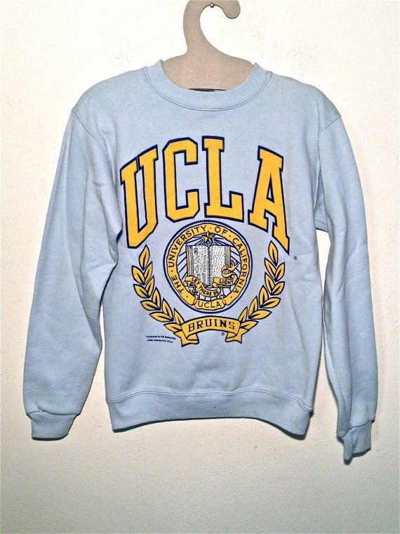 vintage UCLA Varsity 90 college number grunge baseball fleece sweatshirt color tennis rocker western rockabilly man women striped XS S