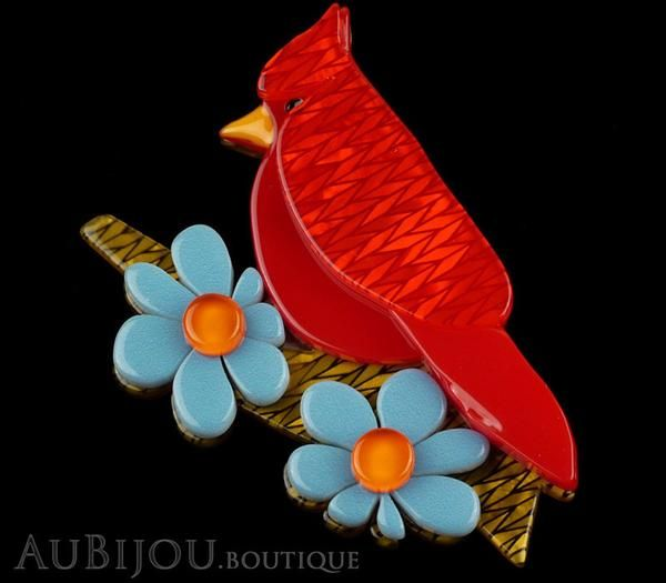 Product Image Erstwilder Bird Brooch Pin Ruby the Red Cardinal Multicolor…