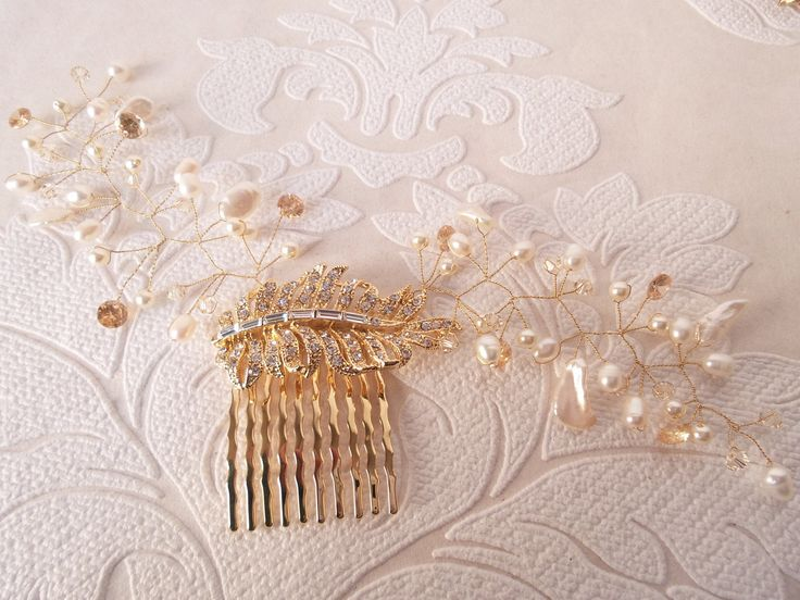 Golden Champagne Bridal Hair Vine for 1920s Art Deco Headpiece Victorian Wedding Hair Style Freshwater Pearl Floral Spray on Comb OOAK by dalfiya on Etsy