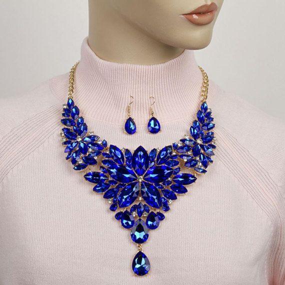 Blue Formal crystal statement necklace Rhinestone Bib