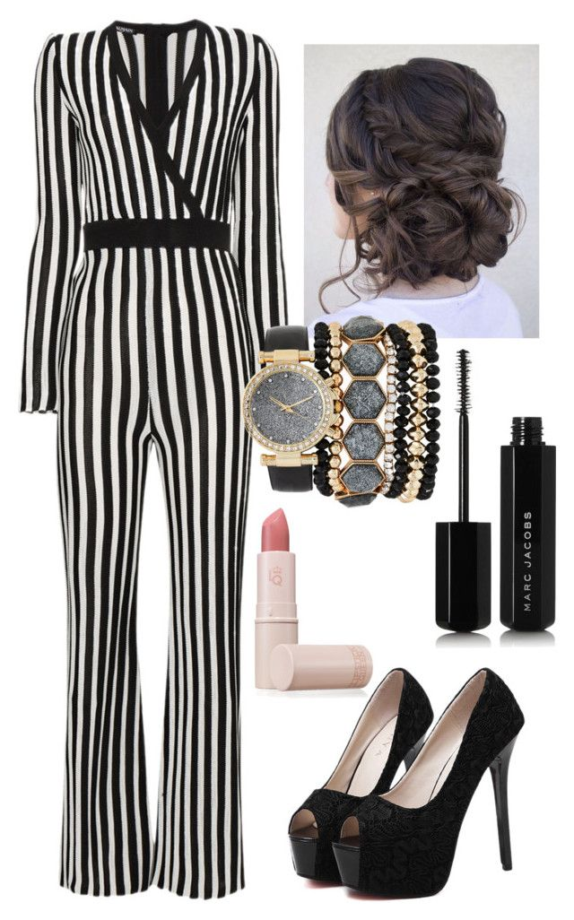 """""""Only one who shines perfectly"""" by utkonos on Polyvore featuring Balmain, WithChic, Jessica Carlyle, Lipstick Queen and Marc Jacobs"""