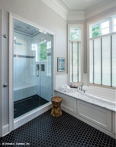 Photo Of Walk in shower and soaking tub in the master bathroom The Monarch Manor home