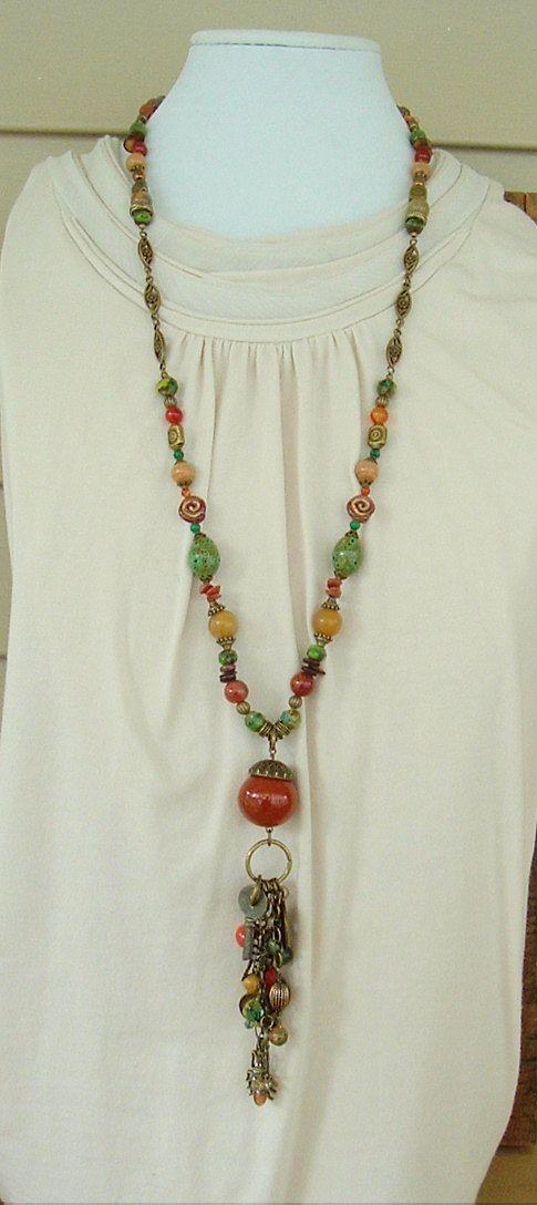 Boho Necklace Bohemian Necklace Extra Long Beaded Necklace
