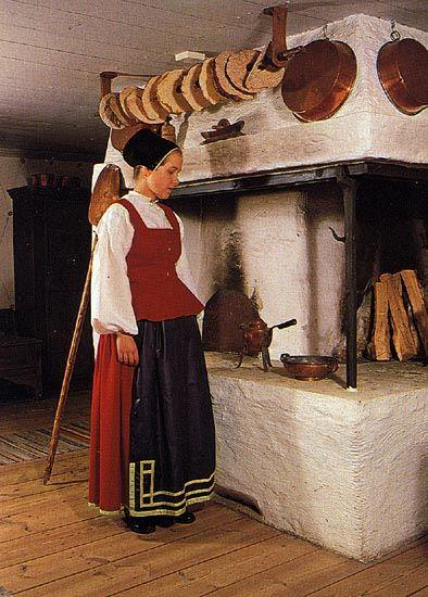 dress from Toarp, Västergötland. Skirt, bodice, chemise, apron.