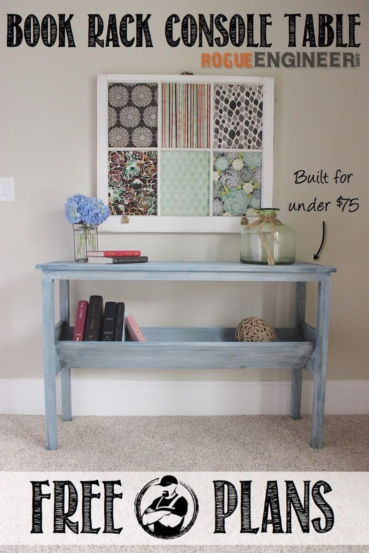 DIIY Book Rack Console Table plans -Free DIY Plans | http://rogueengineer.com/ #BookRackConsoleTable #DiyLivingroom