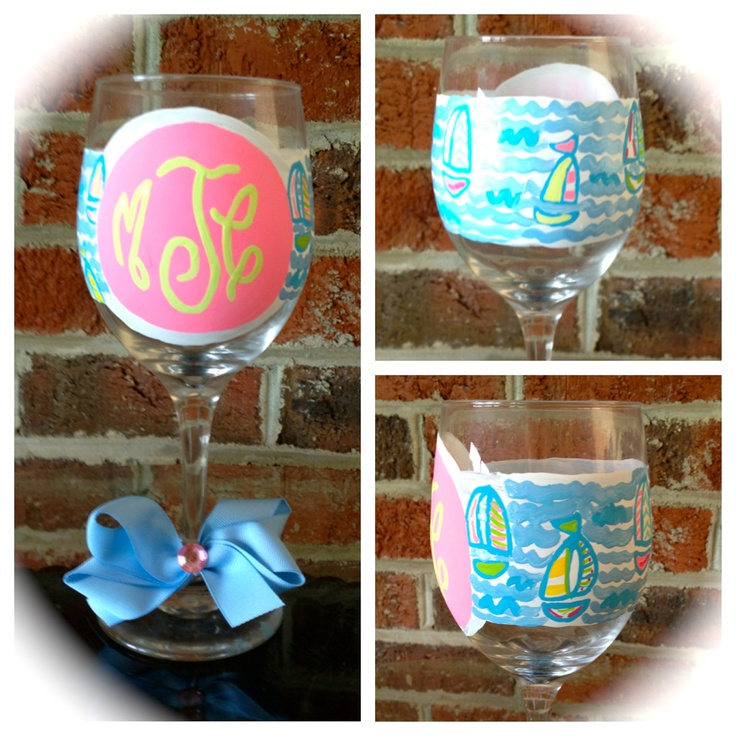 Lilly pulitzer inspired monogram wine glasses craft for Painted wine glasses with initials