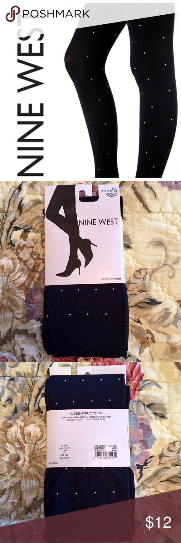 Nine West Gold Stud Black Opaque Tights M/L NWT Brand new, unopened, in original packaging. Nine West gold stud opaque black tights, size M/L. Perfect condition! Bundle with two other items for automatic 25% discount and combined shipping! Nine West Accessories Hosiery & Socks