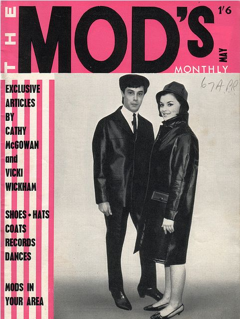 The Mod's Monthly, May 1964 Source: Tin Trunk 60s Mod looks mens suit jacket tie women's coat hat shoes