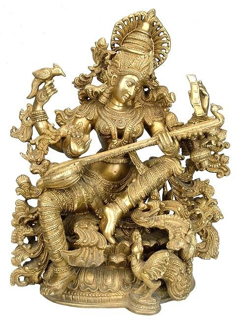 Devi Saraswati.  She is the goddess of knowledge, music and the arts.