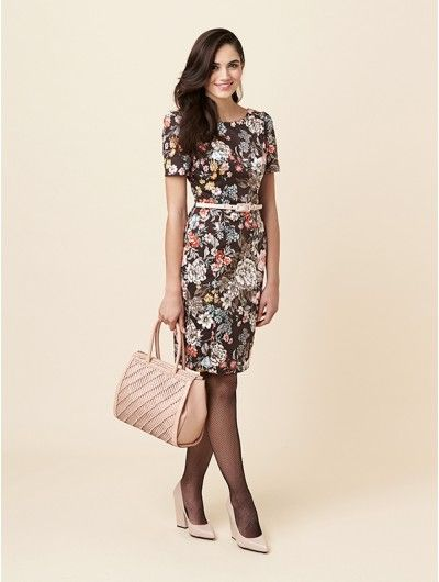 The ideal way to work - look like a lady in this dark floral dress with figure-flattering waist belt from Review Australia