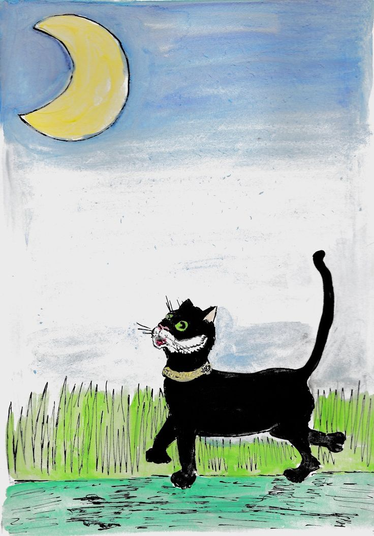 """A4 sized watercolour illustrations titled """"Cat and the Moon"""". This was part of a project for an illustration course I was doing at Putney School of Art and Design, which involved creating an image to accompany the poem The Cat and the Moon by W.B. Yeats. The two images below represent the changes in Minnaloushe (the cat) during the different phases of the moon. #illustration #art #artwork #painting #watercolour #drawing"""