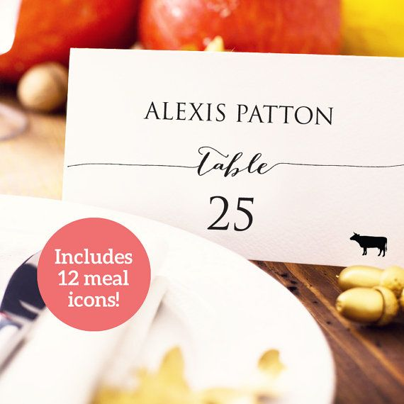 Wedding Place Card with Meal Icons Template by CrossvineDesigns
