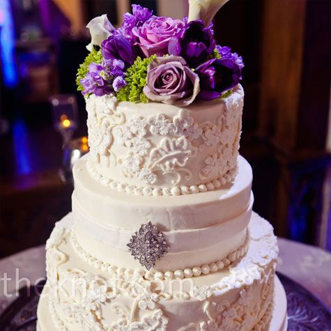 A Touch of Purple, I like the flowers on top! Beautiful wedding cake