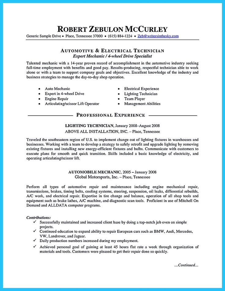 10 best job images on Pinterest For women, Free resume and - automotive resume examples