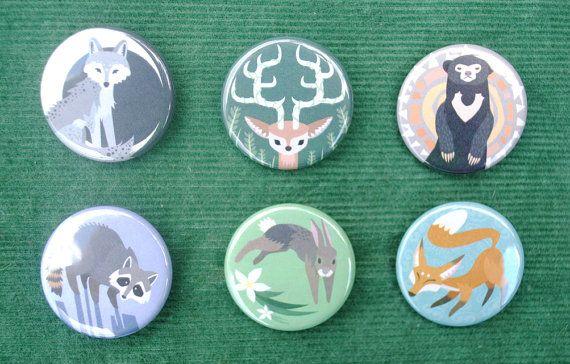 Woodland Spirit Animal Button Set